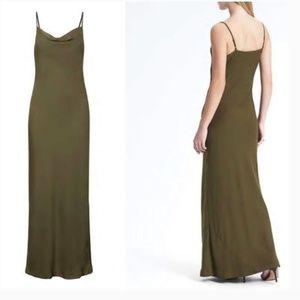 NWT Banana Republic olive grn maxi slip dress 0